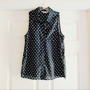 Kenar Black Nautical Anchor Sleeveless Top C419
